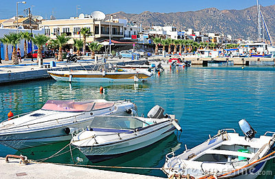 Beautiful harbor of a Greek town
