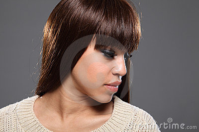Beautiful headshot of young afro-caribbean girl