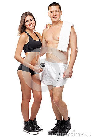 Beautiful healthy-looking couple in sports outfit