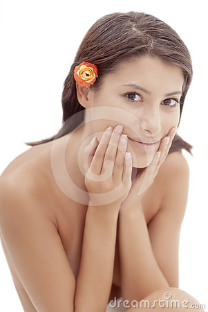 Beautiful healthy woman s face