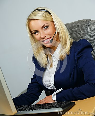 Beautiful  help desk office support woman