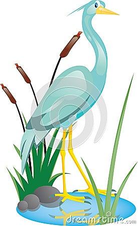 Beautiful heron cartoon