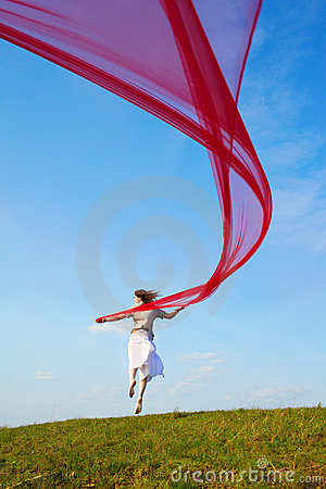 Free Beautiful Hippie Girl With Red Fabric Royalty Free Stock Photography - 20496747