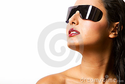 Beautiful hispanic woman with shades