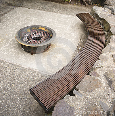 Beautiful Home Deck Sitting Area Outdoor Fire Pit Rock Cement