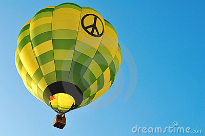 Beautiful hot air balloon - peace and love symbol