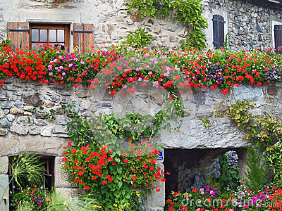 Beautiful House with Flowers in Yvoire, France