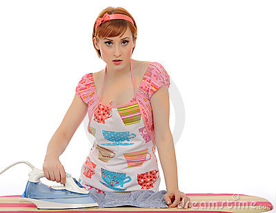 Beautiful house woman ironing mens shirt
