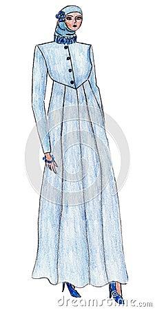 Beautiful illustration of Moslem s fashion