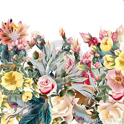 Free Beautiful Illustration With Old-styled Cactuses Royalty Free Stock Photos - 113406118