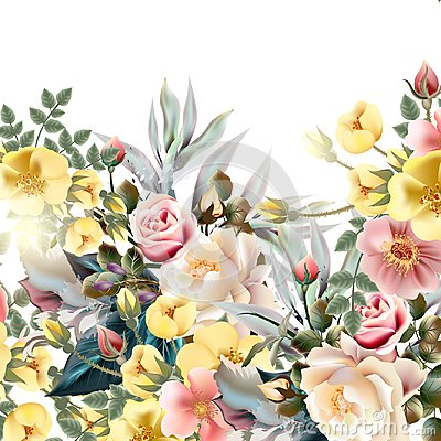 Free Beautiful Illustration With Old -styled Roses Stock Photos - 113403923