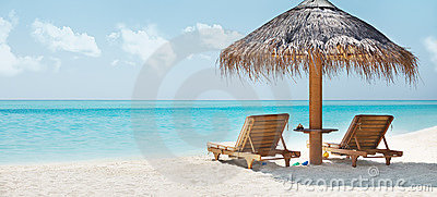Beautiful image of beach and resting chair