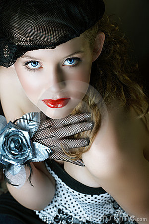 Free Beautiful In Black Beret And Red Lips Stock Images - 5303564