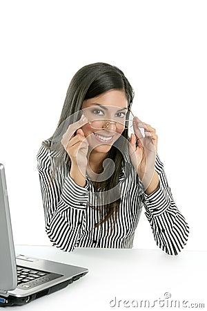 Beautiful indian brunette businesswoman laptop