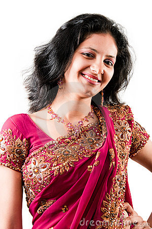 Beautiful Indian Happy Woman In Pink Sari Stock Image