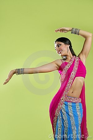 Free Beautiful Indian Young Brunette Woman Dancing Royalty Free Stock Photography - 11056857