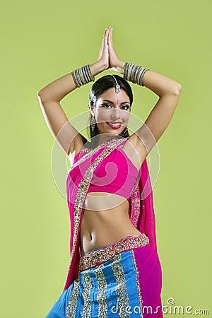 Free Beautiful Indian Young Brunette Woman Dancing Stock Photos - 11160663