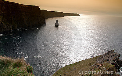 Beautiful irish early evening seascape sunset