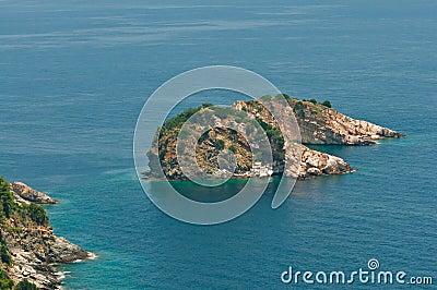 Beautiful island in a blue lagoon
