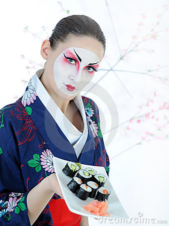 Beautiful japan geisha woman with sushi set