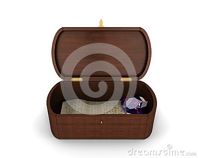 A beautiful jewelry wooden box with a letter and a heart-shaped diamond inside of it