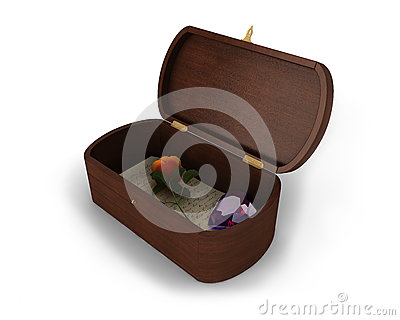 A beautiful jewelry wooden box with a letter, rose and heart-shaped diamond inside of it