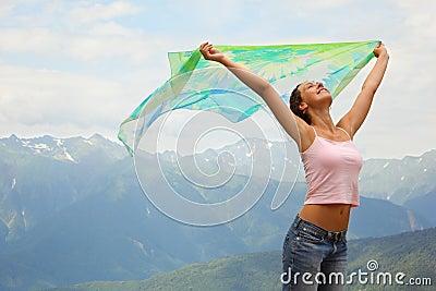 Beautiful joyful woman with kerchief.
