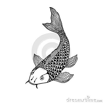 Free Beautiful Koi Carp Fish Illustration In Monochrome. Symbol Of Love, Friendship And Prosperity Royalty Free Stock Photo - 78304825