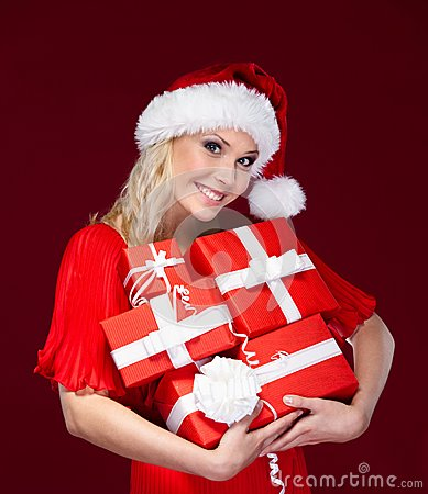 Beautiful lady in Christmas cap