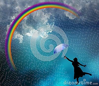 Beautiful lady in the rain. Cartoon Illustration
