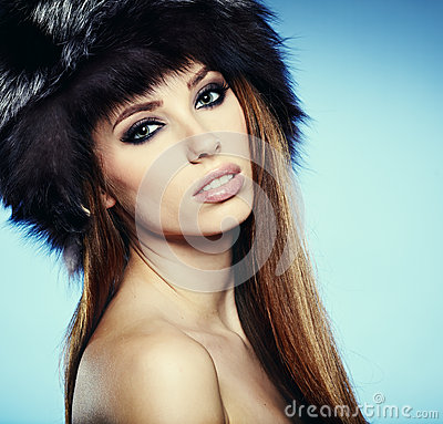 beautiful lady in fur cap