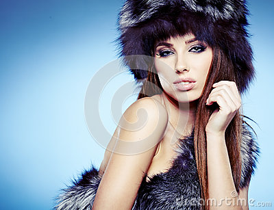 beautiful lady in fur cap