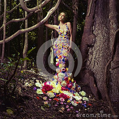 Free Beautiful Lady In Dress Of Flowers Stock Image - 28862001