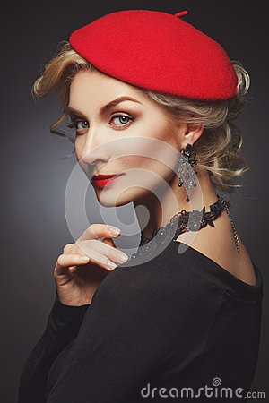 Free Beautiful Lady In Red Beret Royalty Free Stock Photos - 74451898