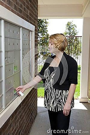 Beautiful Lady At Mail Box