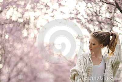 Beautiful Lady in the park in spring time