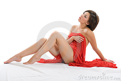 Beautiful lady with red cloth