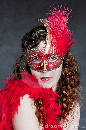 Beautiful lady in a red mask