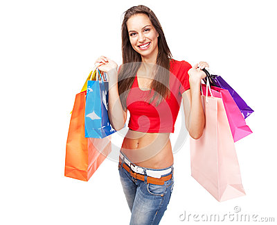 Beautiful lady with shopping bags