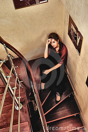 Beautiful Lady on Stairway