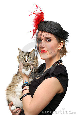 Beautiful lady in a veil with cat