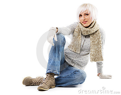 Beautiful lady in warm clothes