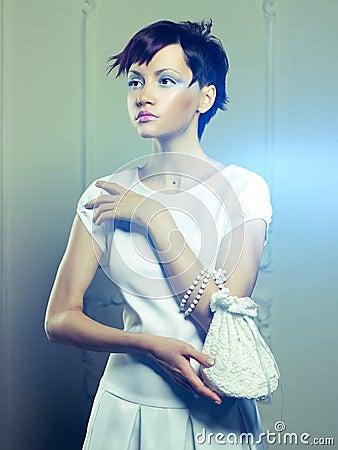 Beautiful lady in white dress