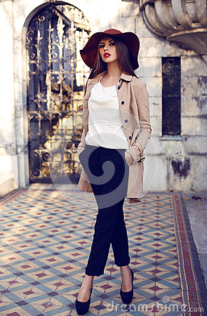 Free Beautiful Ladylike Woman In Elegant Fashion Clothes Posing In Palace Royalty Free Stock Image - 46242776