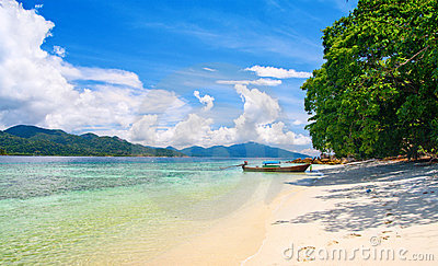 Beautiful lagoon and beach with white sand