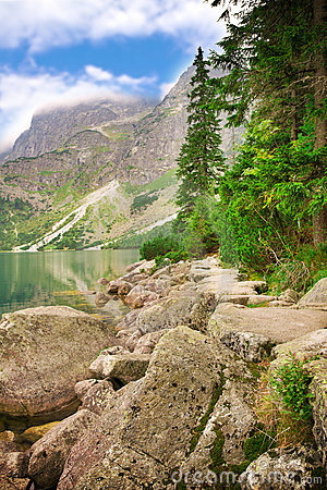 Beautiful lake and mountain view, tatry poland