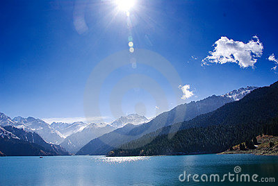 Beautiful lake in a sunny day