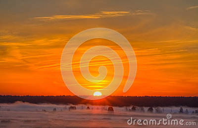 Beautiful Lake On Sunrise