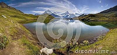 Beautiful lake with swiss mountain