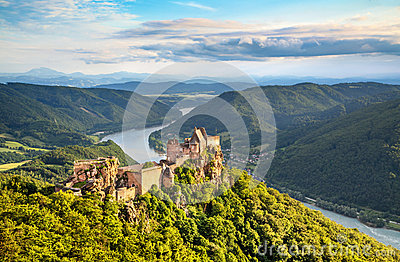 Beautiful landscape with Aggstein castle ruin and Danube river in Wachau, Austria